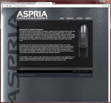 Aspria Central Vacuums Website
