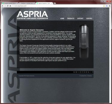 Aspria Central Vacuums Website